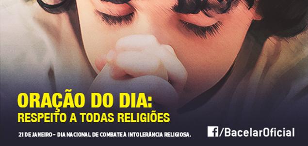 Bacelar pede respeito em dia contra intolerância religiosa