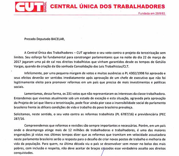 CUT reconhece Bacelar como aliado dos trabalhadores