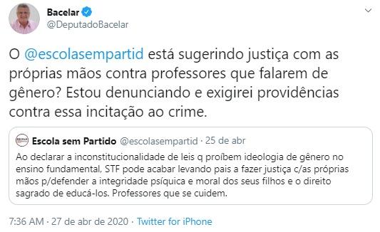 Bacelar entra com ação no MP contra movimento Escola sem partido
